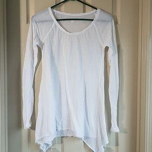 Lululemon 4 white sheer long sleeve top raw hem